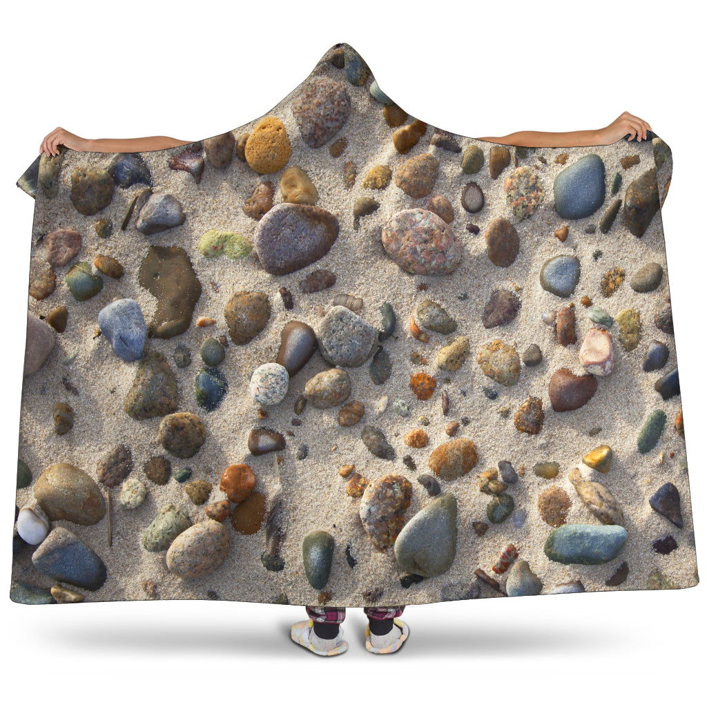 Sandy Beach Stones Hooded Blanket