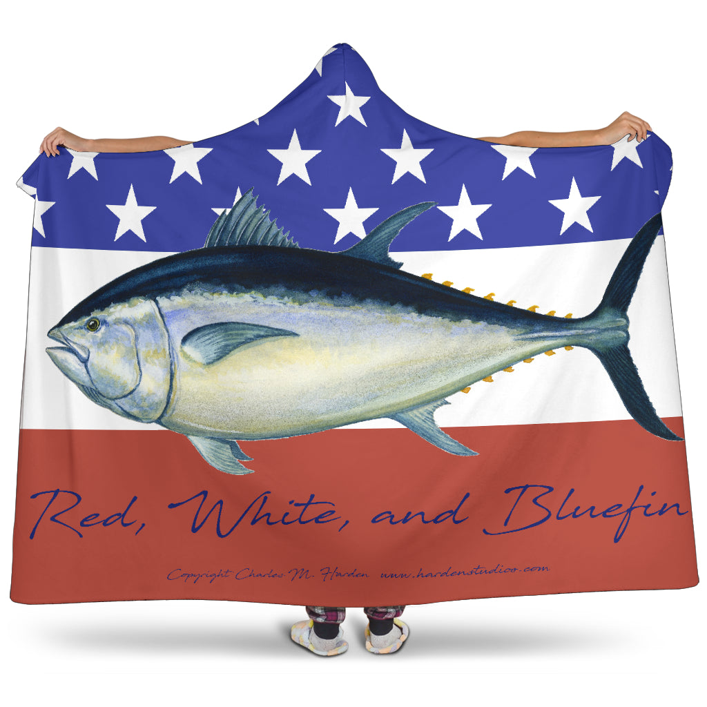 Red White And Bluefin Hooded Blanket for Patriotic Tuna Fans