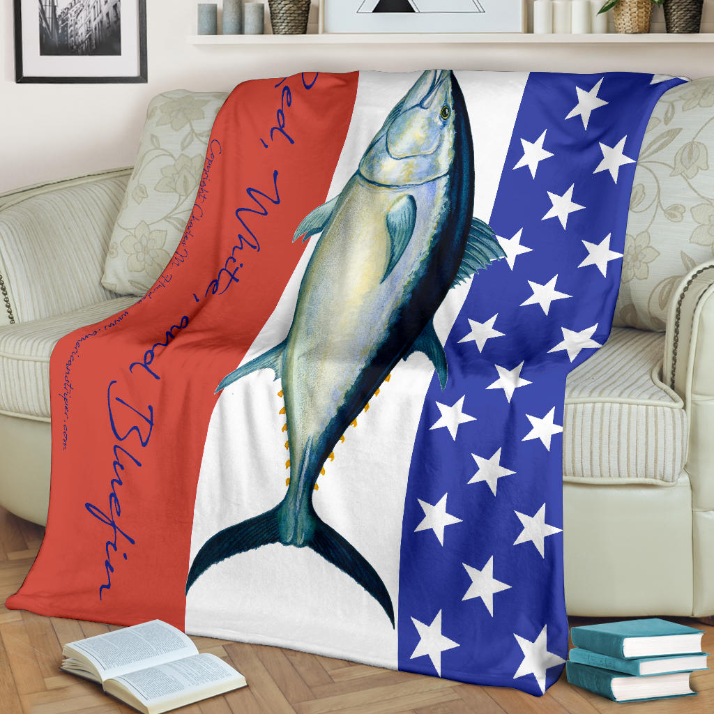 Red White And Bluefin Fleece Blanket for Tuna Fans