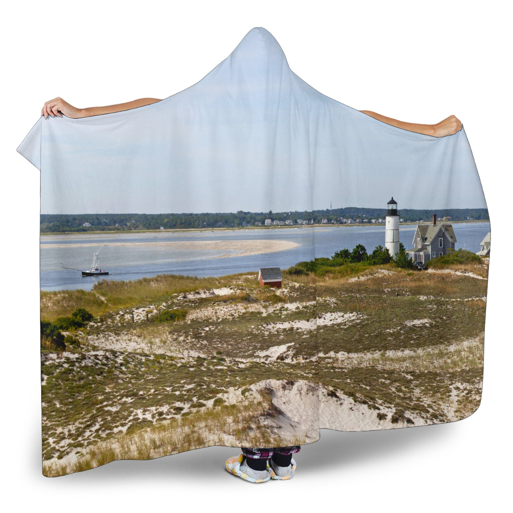 Sand Dunes and Lighthouse Hooded Blanket