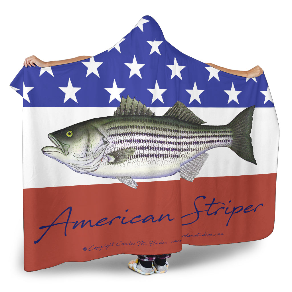 American Striper Patriotic Striped Bass Hooded Blanket