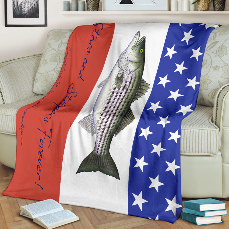 Stars and Stripers Forever Striped Bass Fleece Blanket