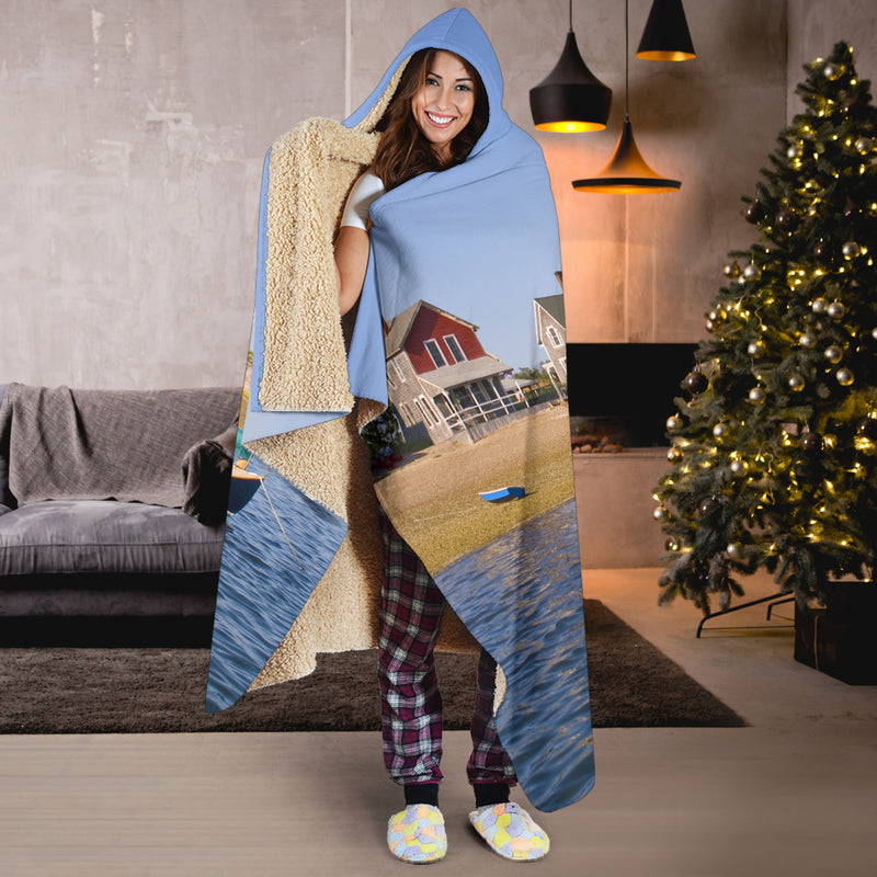 Sandy Neck Lighthouse and Sailboat Hooded Blanket