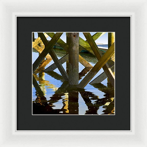 Geometric Pilings In Barnstable Marina - Framed Print