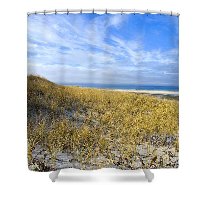 Grassy Sand Dunes Overlooking The Beach - Shower Curtain