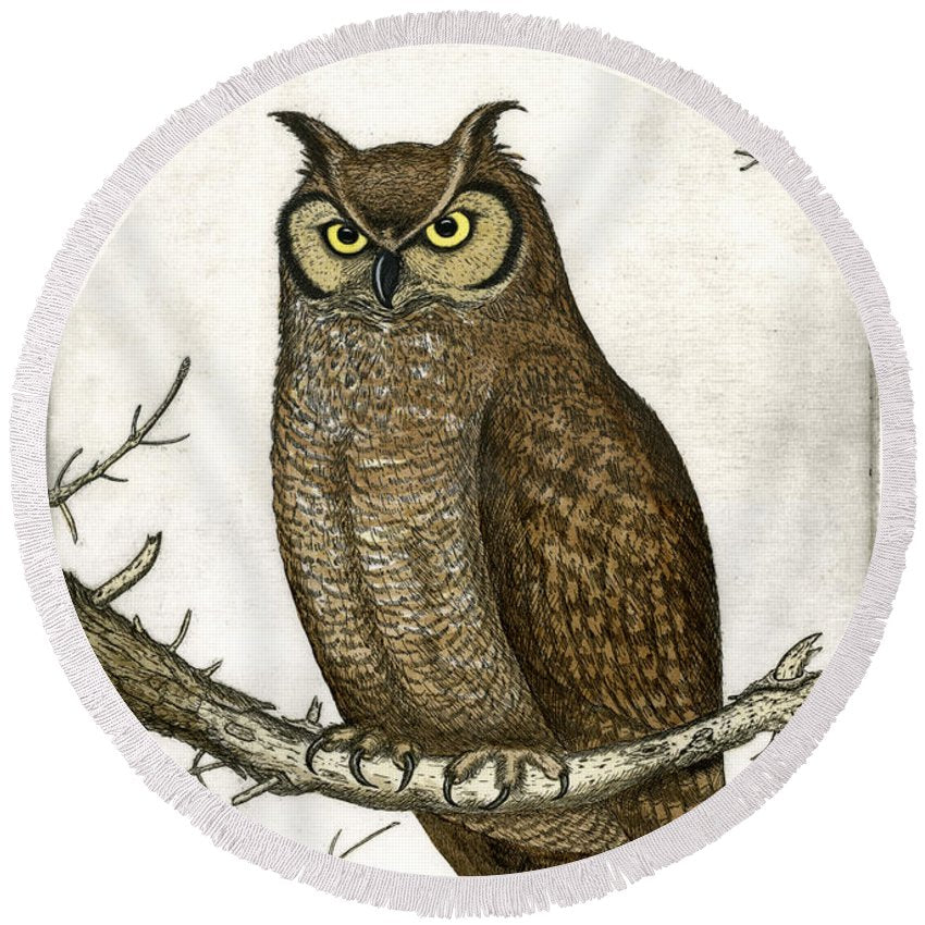 Great Horned Owl - Round Beach Towel