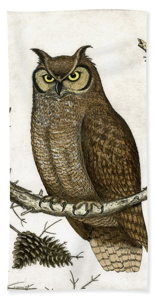 Great Horned Owl - Beach Towel