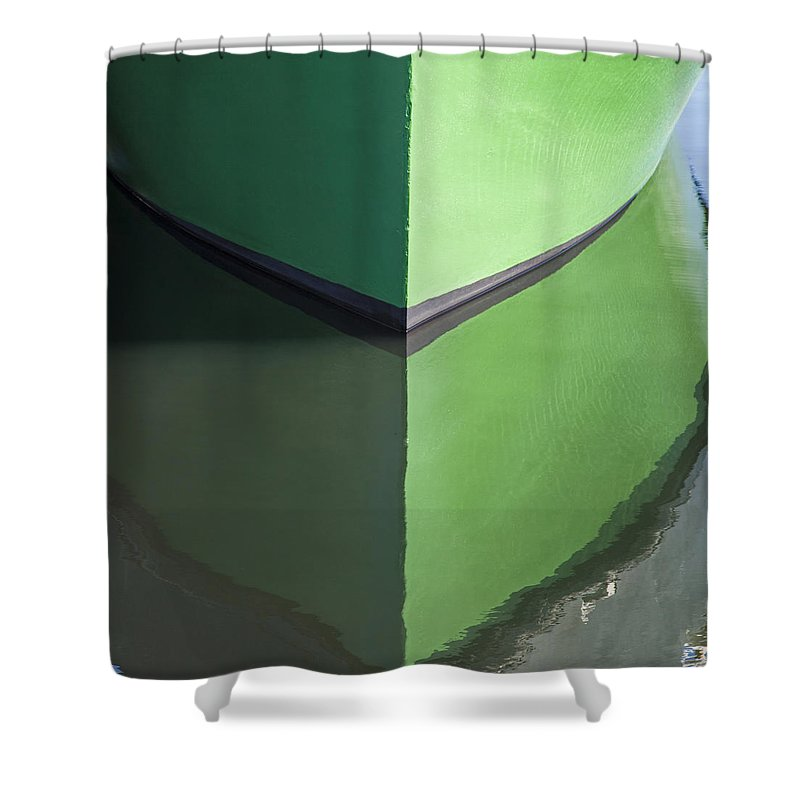 Green Boat Reflection - Shower Curtain