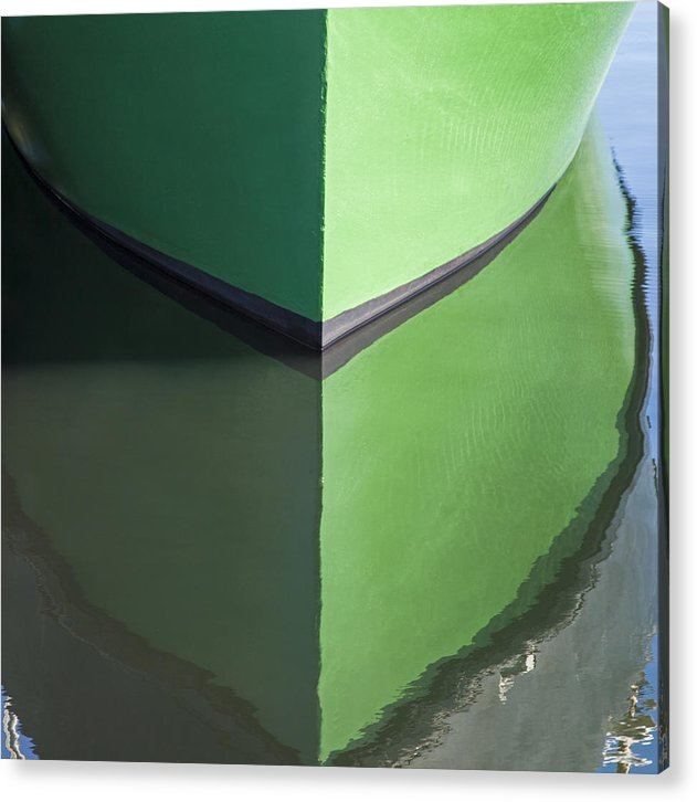 Green Boat Reflection - Acrylic Print
