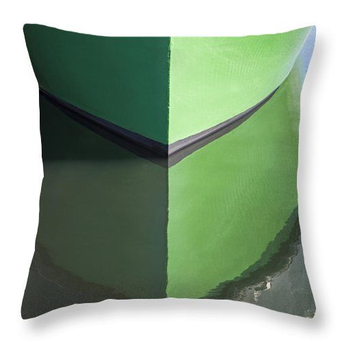 Green Boat Reflection - Throw Pillow