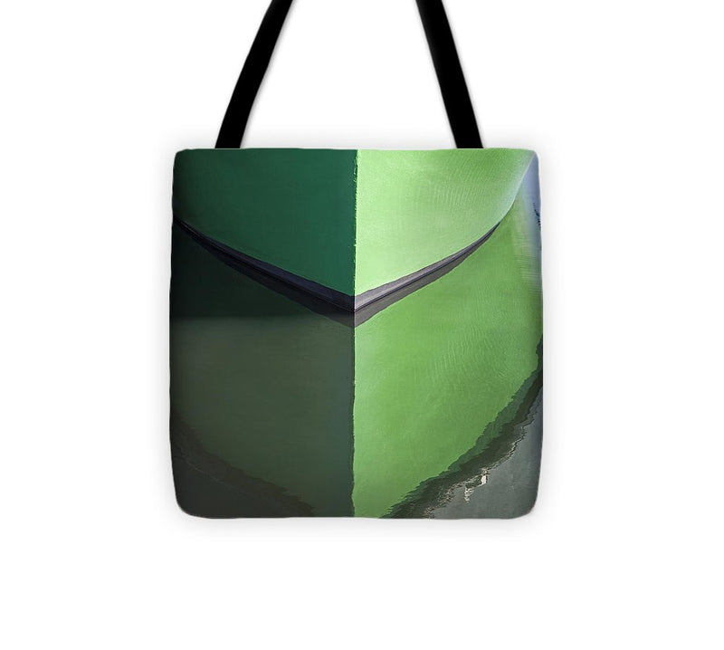 Green Boat Reflection - Tote Bag