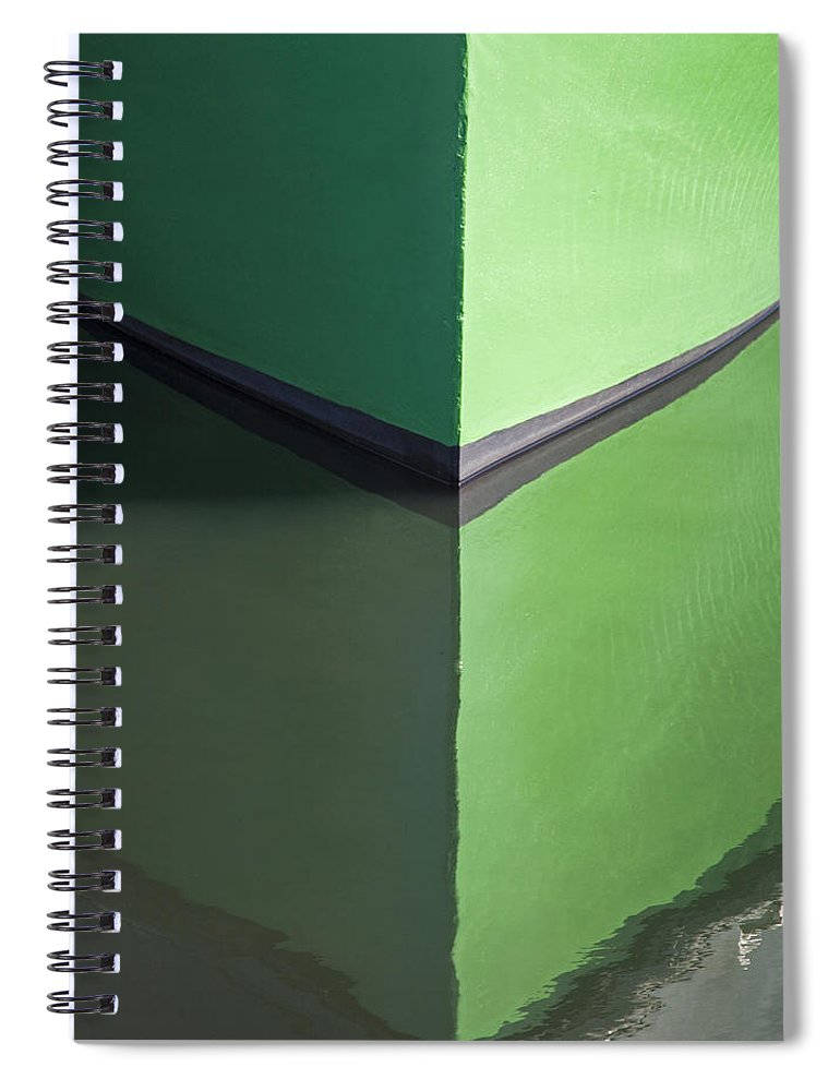 Green Boat Reflection - Spiral Notebook