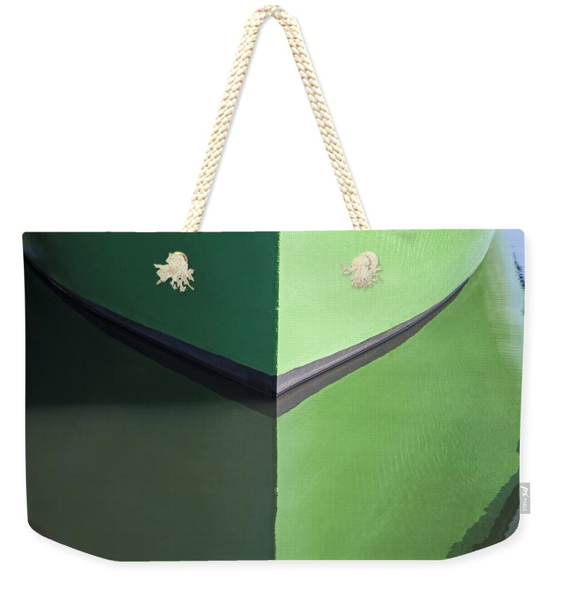 Green Boat Reflection - Weekender Tote Bag
