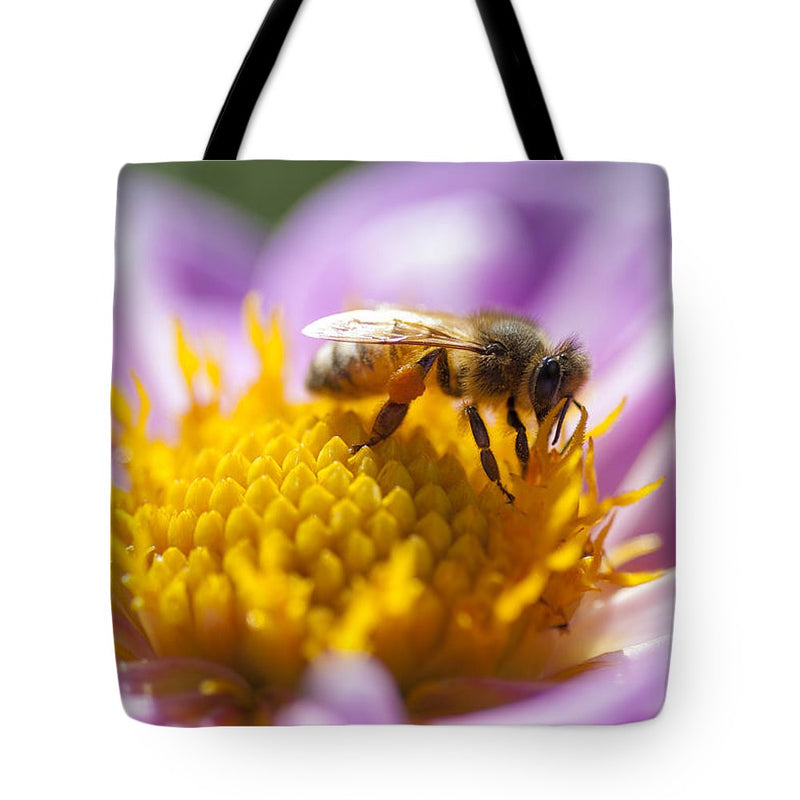 Honeybee On A Dahlia Flower - Tote Bag