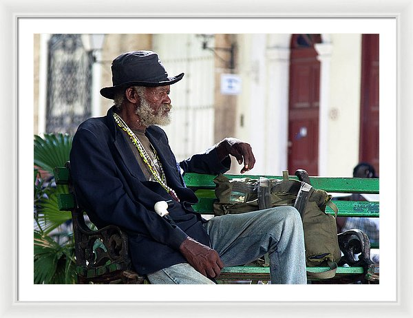Interesting Cuban Gentleman In A Park On Obrapia - Framed Print
