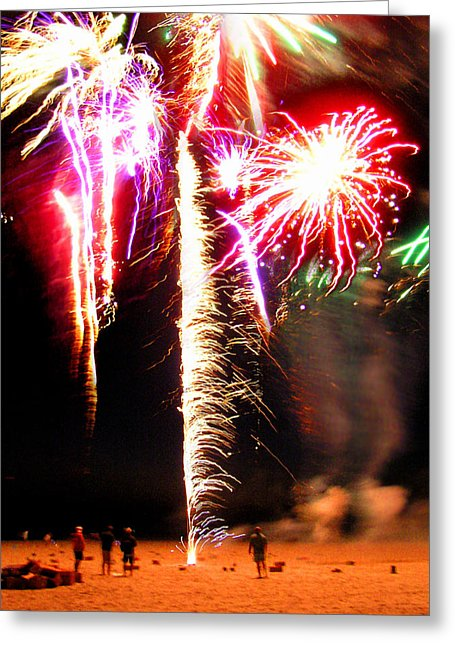 Joe's Fireworks Party On The West Bar Sandy Neck 2 - Greeting Card