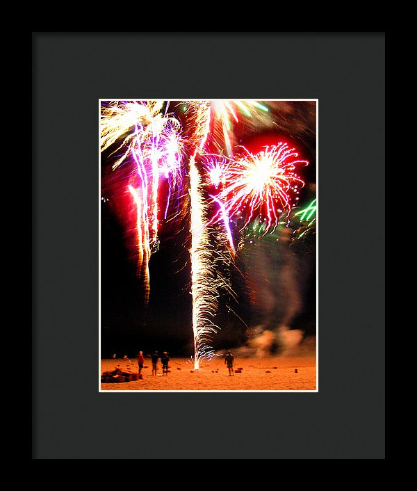 Joe's Fireworks Party On The West Bar Sandy Neck 2 - Framed Print