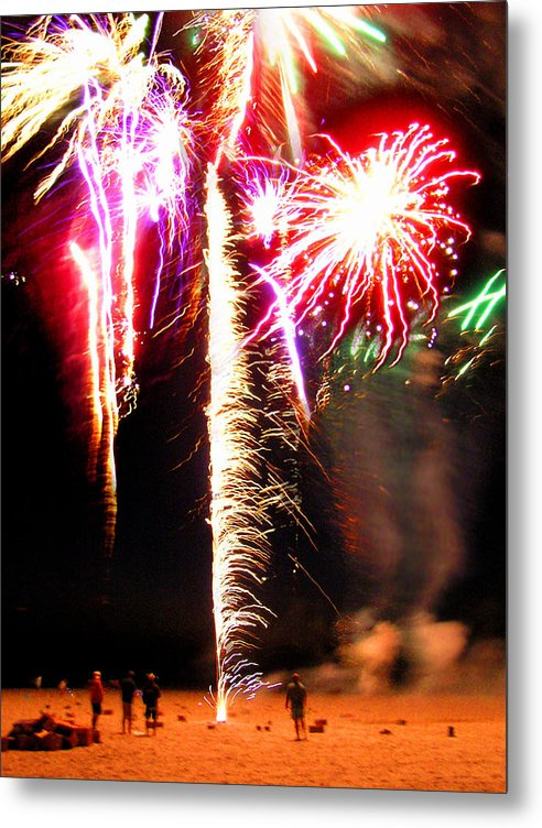 Joe's Fireworks Party On The West Bar Sandy Neck 2 - Metal Print