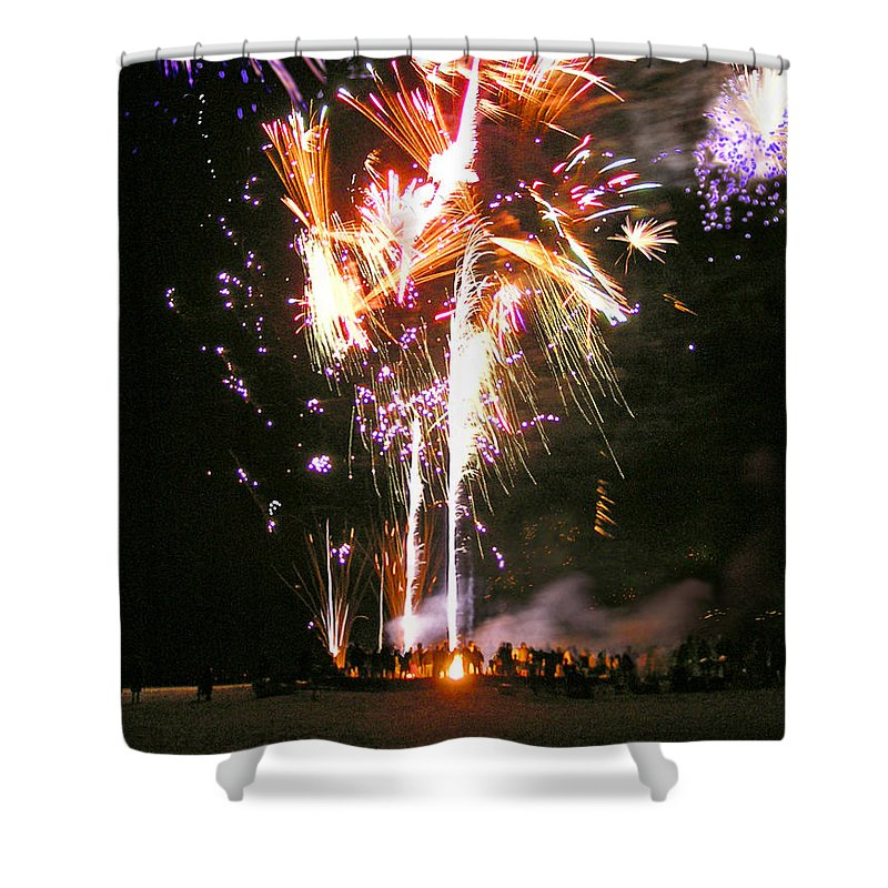 Joe's Fireworks Party At The West Bar Sandy Neck - Shower Curtain