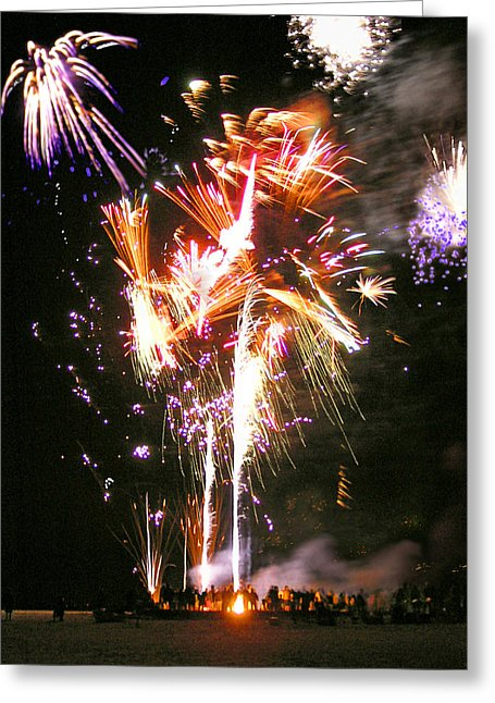 Joe's Fireworks Party At The West Bar Sandy Neck - Greeting Card