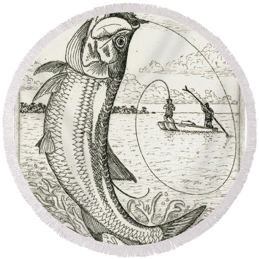 Leaping Tarpon - Round Beach Towel