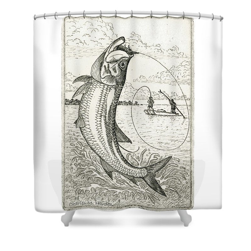 Leaping Tarpon - Shower Curtain