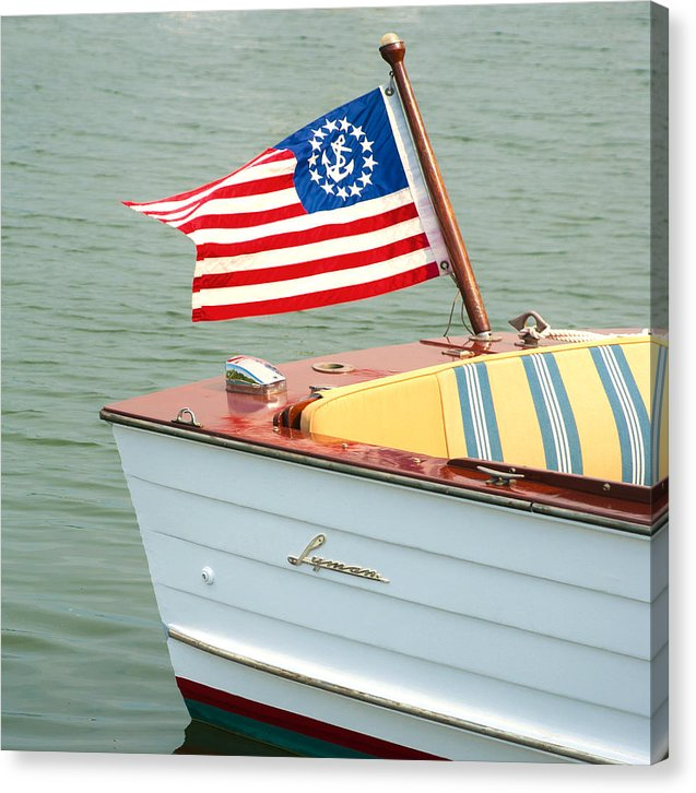 Vintage Mahogany Lyman Runabout Boat With Navy Flag - Canvas Print