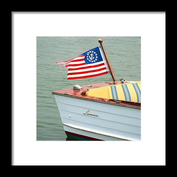 Vintage Mahogany Lyman Runabout Boat With Navy Flag - Framed Print