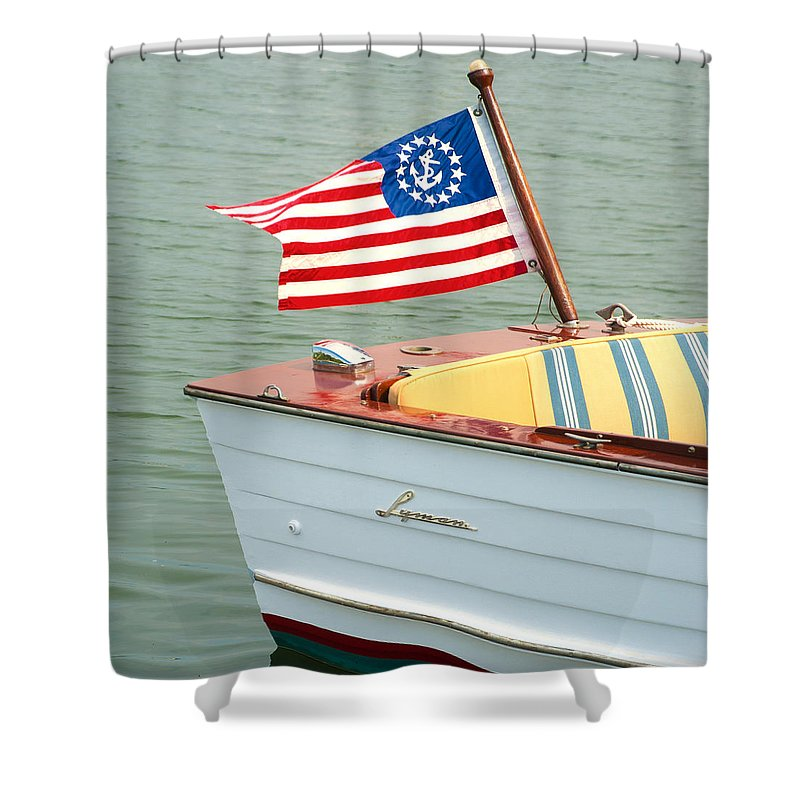 Vintage Mahogany Lyman Runabout Boat With Navy Flag - Shower Curtain