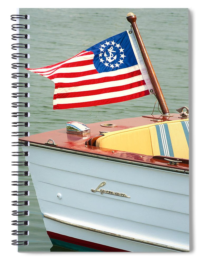 Vintage Mahogany Lyman Runabout Boat With Navy Flag - Spiral Notebook