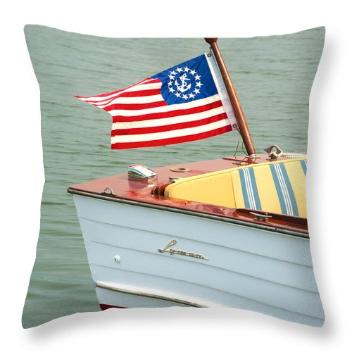 Vintage Mahogany Lyman Runabout Boat With Navy Flag - Throw Pillow