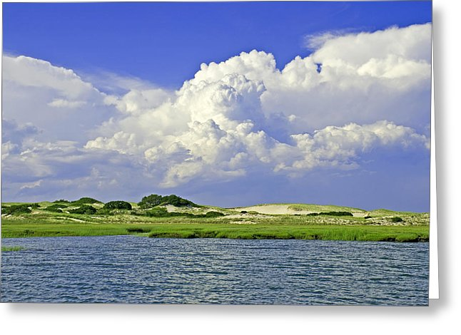 Marsh And Dunes And Clouds - Greeting Card