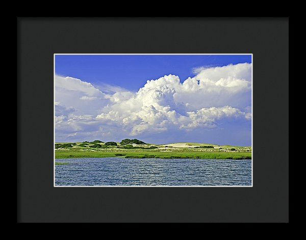 Marsh And Dunes And Clouds - Framed Print