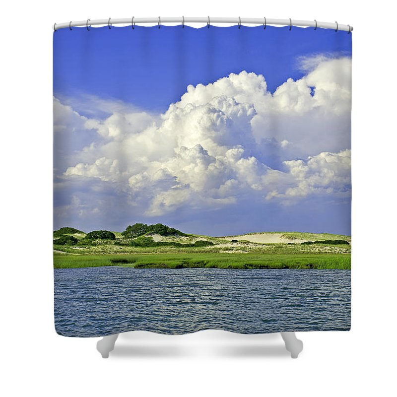 Marsh And Dunes And Clouds - Shower Curtain