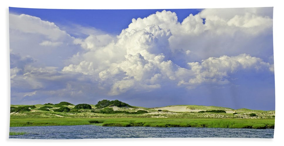 Marsh And Dunes And Clouds - Bath Towel
