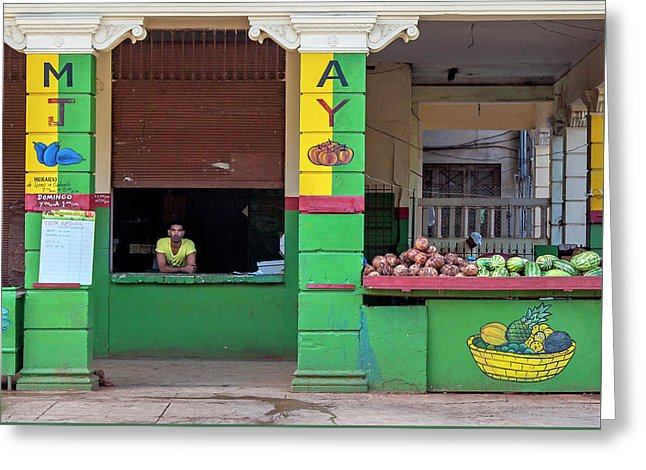 Mjay Fruit Stand Havana Cuba - Greeting Card