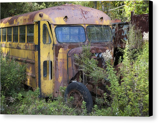 Old Abandoned School Bus - Canvas Print