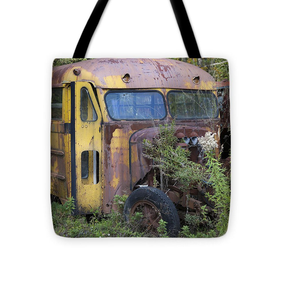 Old Abandoned School Bus - Tote Bag