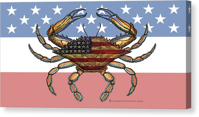 Patriotic Crab On American Flag - Canvas Print