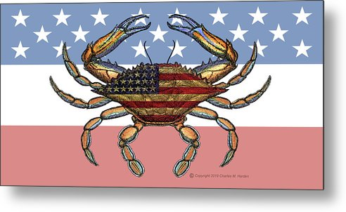 Patriotic Crab On American Flag - Metal Print