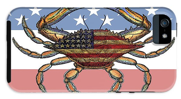 Patriotic Crab On American Flag - Phone Case