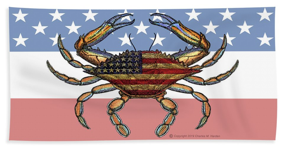 Patriotic Crab On American Flag - Bath Towel