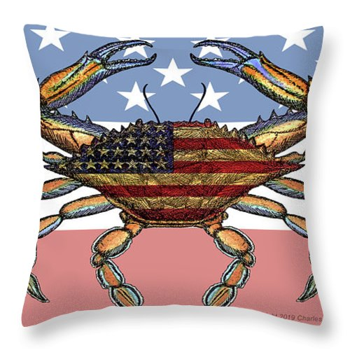 Patriotic Crab On American Flag - Throw Pillow