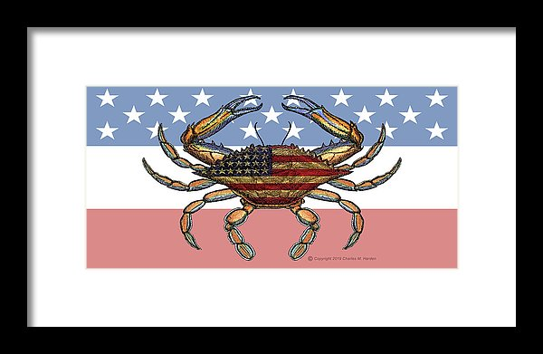 Patriotic Crab On American Flag - Framed Print