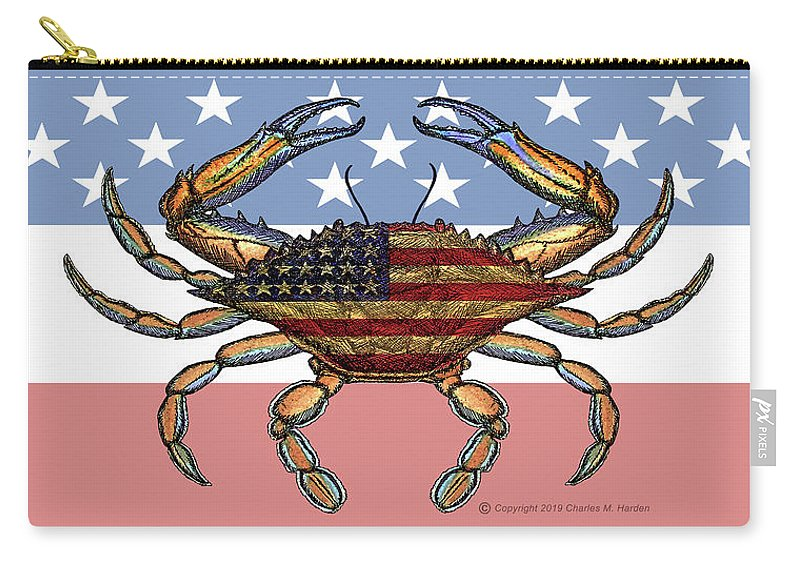 Patriotic Crab On American Flag - Carry-All Pouch
