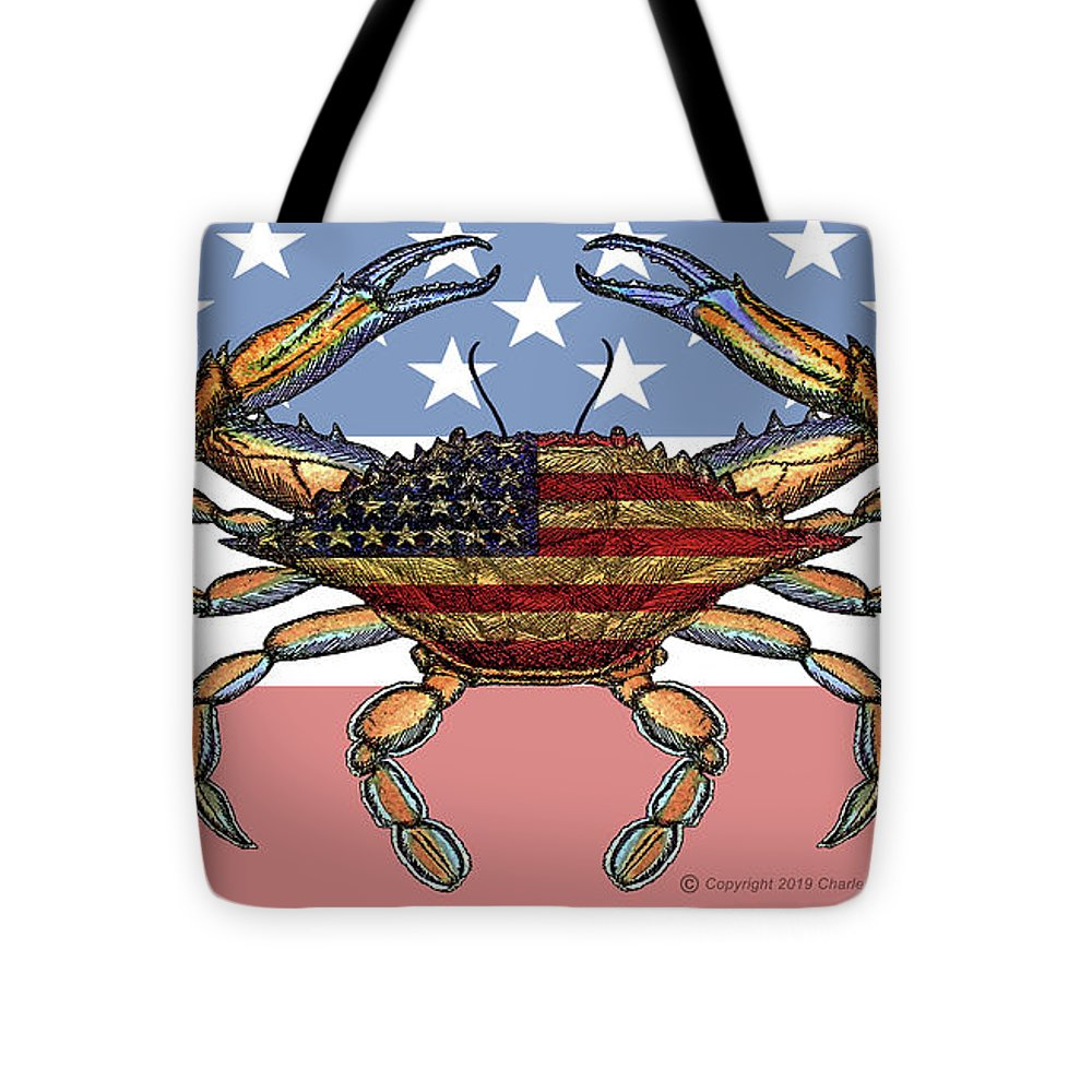 Patriotic Crab On American Flag - Tote Bag