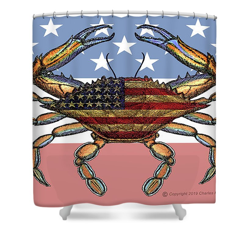 Patriotic Crab On American Flag - Shower Curtain