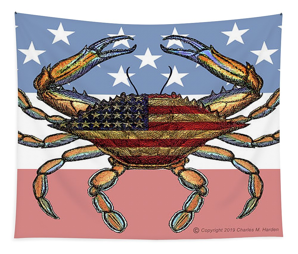 Patriotic Crab On American Flag - Tapestry