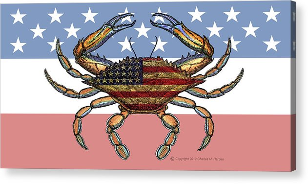 Patriotic Crab On American Flag - Acrylic Print