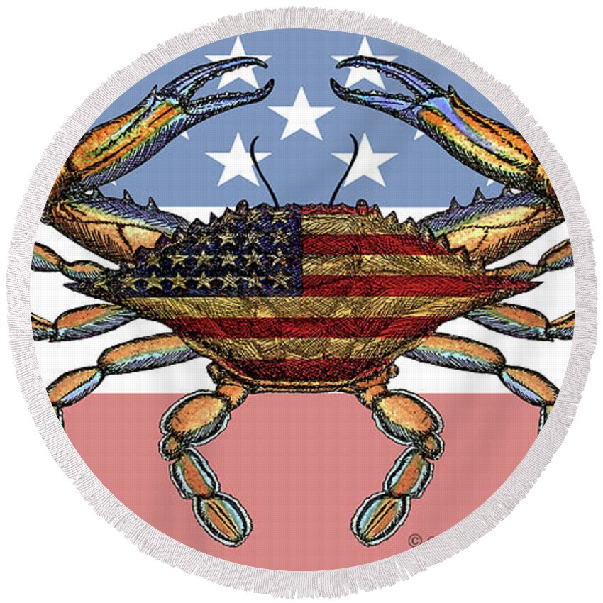 Patriotic Crab On American Flag - Round Beach Towel